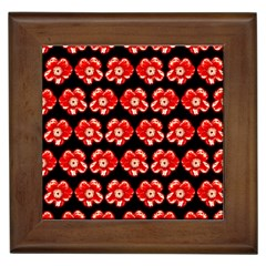 Red  Flower Pattern On Brown Framed Tiles