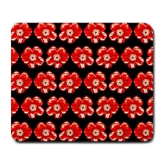 Red  Flower Pattern On Brown Large Mousepads by Costasonlineshop