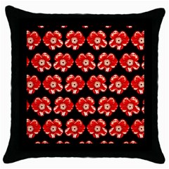 Red  Flower Pattern On Brown Throw Pillow Case (black) by Costasonlineshop