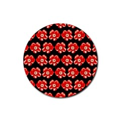 Red  Flower Pattern On Brown Rubber Coaster (round)