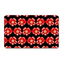 Red  Flower Pattern On Brown Magnet (rectangular)