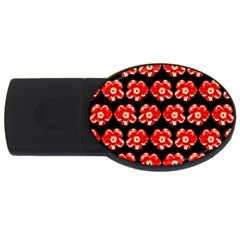 Red  Flower Pattern On Brown Usb Flash Drive Oval (2 Gb)