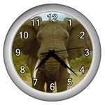Elephant Wall Clock (Silver)