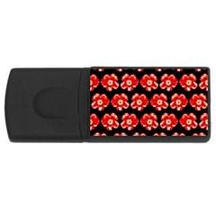 Red  Flower Pattern On Brown Usb Flash Drive Rectangular (4 Gb)  by Costasonlineshop