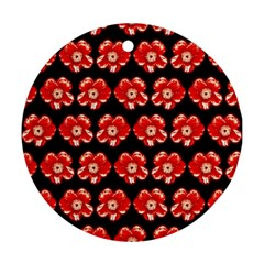 Red  Flower Pattern On Brown Round Ornament (two Sides)  by Costasonlineshop