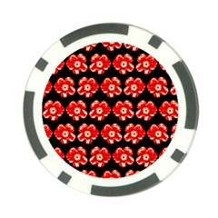 Red  Flower Pattern On Brown Poker Chip Card Guards