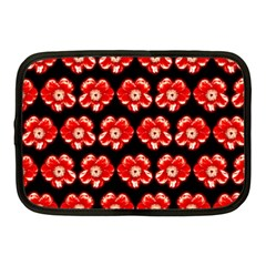 Red  Flower Pattern On Brown Netbook Case (medium)