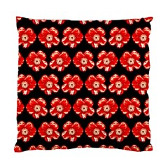 Red  Flower Pattern On Brown Standard Cushion Case (one Side) by Costasonlineshop