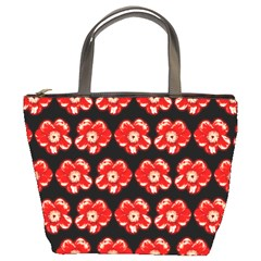 Red  Flower Pattern On Brown Bucket Bags