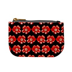 Red  Flower Pattern On Brown Mini Coin Purses by Costasonlineshop