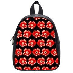 Red  Flower Pattern On Brown School Bags (small)  by Costasonlineshop
