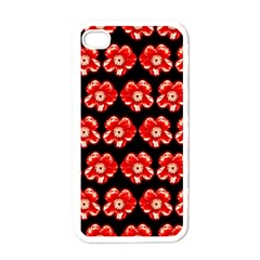 Red  Flower Pattern On Brown Apple Iphone 4 Case (white)