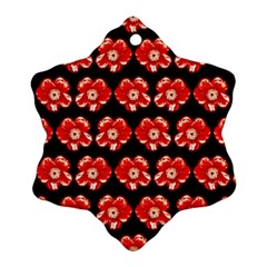 Red  Flower Pattern On Brown Snowflake Ornament (2 Side) by Costasonlineshop
