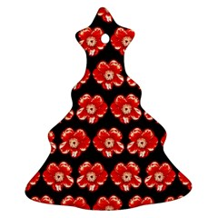 Red  Flower Pattern On Brown Christmas Tree Ornament (2 Sides)