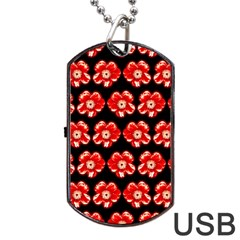 Red  Flower Pattern On Brown Dog Tag Usb Flash (one Side)