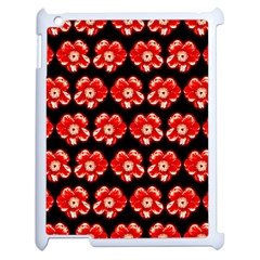 Red  Flower Pattern On Brown Apple Ipad 2 Case (white) by Costasonlineshop