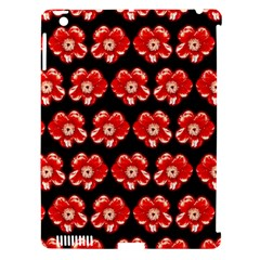 Red  Flower Pattern On Brown Apple Ipad 3/4 Hardshell Case (compatible With Smart Cover) by Costasonlineshop