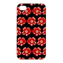 Red  Flower Pattern On Brown Apple Iphone 4/4s Premium Hardshell Case by Costasonlineshop
