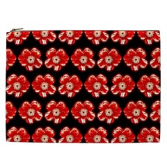 Red  Flower Pattern On Brown Cosmetic Bag (xxl)  by Costasonlineshop