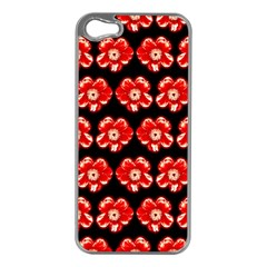 Red  Flower Pattern On Brown Apple Iphone 5 Case (silver)