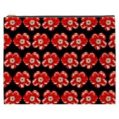 Red  Flower Pattern On Brown Cosmetic Bag (xxxl)  by Costasonlineshop