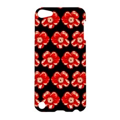 Red  Flower Pattern On Brown Apple Ipod Touch 5 Hardshell Case