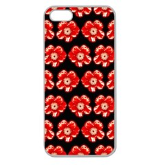 Red  Flower Pattern On Brown Apple Seamless Iphone 5 Case (clear) by Costasonlineshop
