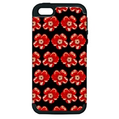 Red  Flower Pattern On Brown Apple Iphone 5 Hardshell Case (pc+silicone)