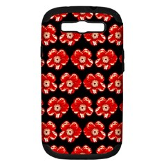 Red  Flower Pattern On Brown Samsung Galaxy S Iii Hardshell Case (pc+silicone) by Costasonlineshop