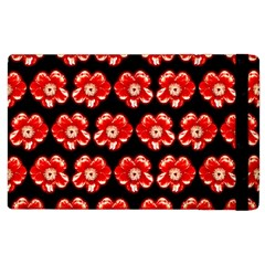 Red  Flower Pattern On Brown Apple Ipad 2 Flip Case