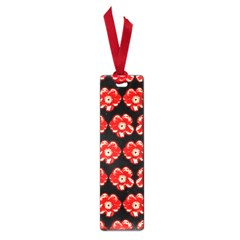 Red  Flower Pattern On Brown Small Book Marks by Costasonlineshop
