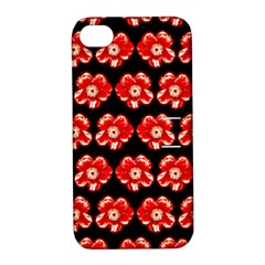 Red  Flower Pattern On Brown Apple Iphone 4/4s Hardshell Case With Stand by Costasonlineshop