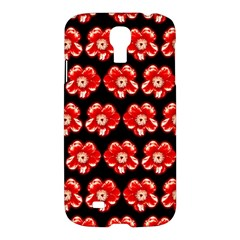 Red  Flower Pattern On Brown Samsung Galaxy S4 I9500/i9505 Hardshell Case