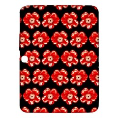 Red  Flower Pattern On Brown Samsung Galaxy Tab 3 (10 1 ) P5200 Hardshell Case  by Costasonlineshop