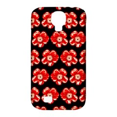 Red  Flower Pattern On Brown Samsung Galaxy S4 Classic Hardshell Case (pc+silicone)