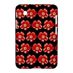 Red  Flower Pattern On Brown Samsung Galaxy Tab 2 (7 ) P3100 Hardshell Case