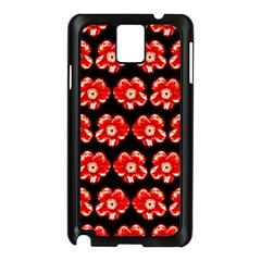 Red  Flower Pattern On Brown Samsung Galaxy Note 3 N9005 Case (black)
