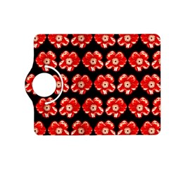Red  Flower Pattern On Brown Kindle Fire Hd (2013) Flip 360 Case