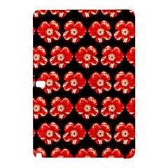 Red  Flower Pattern On Brown Samsung Galaxy Tab Pro 10 1 Hardshell Case