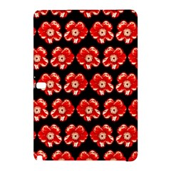 Red  Flower Pattern On Brown Samsung Galaxy Tab Pro 12 2 Hardshell Case by Costasonlineshop