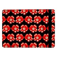 Red  Flower Pattern On Brown Samsung Galaxy Tab Pro 12 2  Flip Case