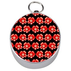 Red  Flower Pattern On Brown Silver Compasses