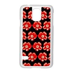Red  Flower Pattern On Brown Samsung Galaxy S5 Case (white)