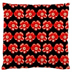 Red  Flower Pattern On Brown Large Flano Cushion Case (two Sides) by Costasonlineshop