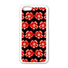 Red  Flower Pattern On Brown Apple Iphone 6/6s White Enamel Case