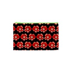 Red  Flower Pattern On Brown Cosmetic Bag (xs) by Costasonlineshop