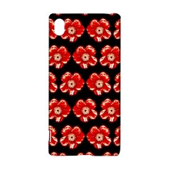 Red  Flower Pattern On Brown Sony Xperia Z3+ by Costasonlineshop