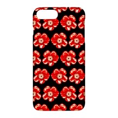 Red  Flower Pattern On Brown Apple Iphone 7 Plus Hardshell Case by Costasonlineshop