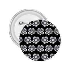 White Gray Flower Pattern On Black 2 25  Buttons by Costasonlineshop