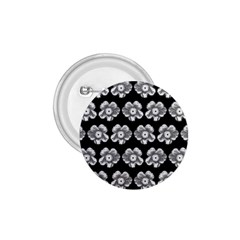 White Gray Flower Pattern On Black 1 75  Buttons